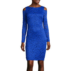Blu Sage Long-Sleeve Shoulder Cutout Lace Sheath Dress