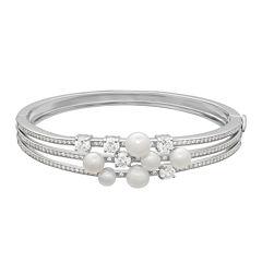 Certified Sofia™ Bridal Cultured Freshwater Pearl & Swarovski® Cubic Zirconia Sterling Silver Bracelet