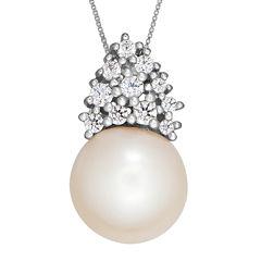 Certified Sofia™ Bridal Cultured Freshwater Pearl & Swarovski® Cubic Zirconia Silver Pendant