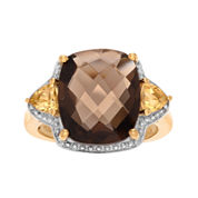 Genuine Smoky Topaz and Citrine 14K Yellow Gold Over Silver Ring
