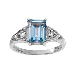 Genuine Blue & White Topaz Sterling Silver Ring