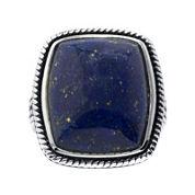 Dyed Blue Lapis Sterling Silver Rectangular Ring