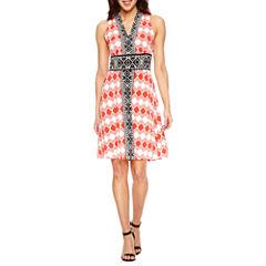 London Style Sleeveless Fit & Flare Dress-Petites