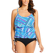 St. John's Bay Geo Linear Tankini Swimsuit Top or Adjustable Side-Brief