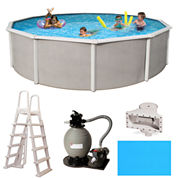 Blue Wave Barcelona Complete 24-ft Round 48-in Deep Metal Wall Pool Pkg