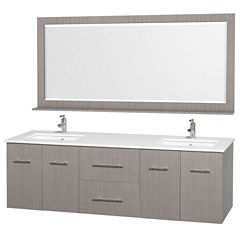 Centra 72 inch Double Bathroom Vanity; White Man-Made Stone Countertop; Square Porcelain UndermountSinks; and 70 inch Mirror