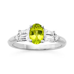 Genuine Peridot & Lab-Created White Sapphire Sterling Silver 3-Stone Ring