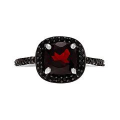Genuine Garnet & Black Spinel Sterling Silver Ring