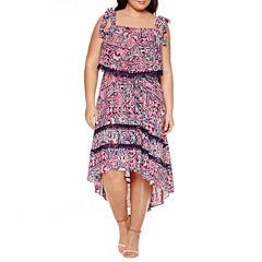 Boutique + Sleeveless Hi Low Maxi Dress-Plus