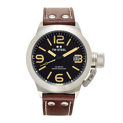 TW Steel Canteen Mens Black Dial Brown Leather Strap Watch