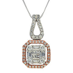 3/4 CT. T.W. Diamond 14K Two-Tone Gold Pendant Necklace