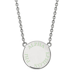 Alpha Epsilon Pi Enamel Sterling Silver Disc Pendant Necklace