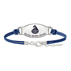 Sigma Sigma Sigma Enameled Sterling Silver Oval Leather Bracelet