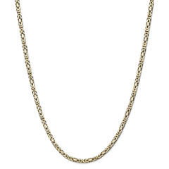 14K Yellow Gold Solid Byzantine Chain Necklace