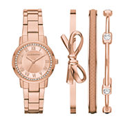 Liz Claiborne Womens Rose Goldtone 4-pc. Watch Boxed Set-Lc9047