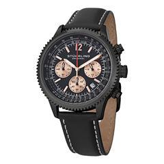 Stuhrling Mens Black Strap Watch-Sp14901