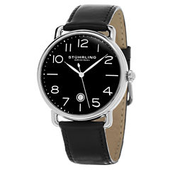 Stuhrling Mens Black Strap Watch-Sp15506