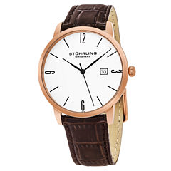 Stuhrling Mens Brown Strap Watch-Sp15664