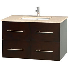 Centra 36 inch Single Bathroom Vanity; Ivory Marble Countertop; Undermount Square Sink; and No Mirror
