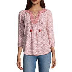 St. John's Bay 3/4 Sleeve Voile Floral Blouse