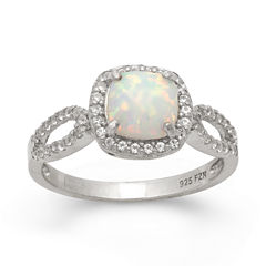 Simulated Opal & Lab Created White Sapphire Sterling Silver Ring