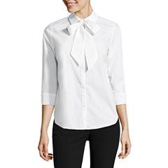 Worthington 3/4 Sleeve Button-Front Shirt