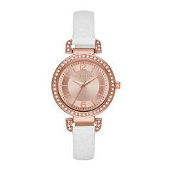 Liz Claiborne® Womens Rose Gold Tone Sunray Dial White Strap Watch