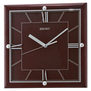Seiko® Quiet Sweep Second Hand Square Wall ClockBrown Qxa602blh