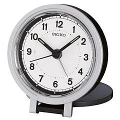 Seiko® Black Metallic Travel Alarm With Folding Stand Clock Qht011klh