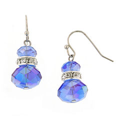 1928® Jewelry Silver-Tone Blue Crystal Beaded Drop Earrings