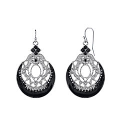1928® Jewelry Silver-Tone Black Filigree Drop Earrings