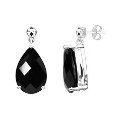 Genuine Black Onyx Sterling Silver Earrings