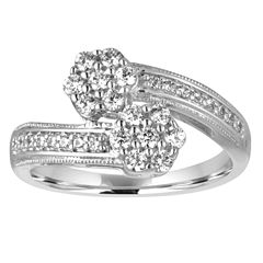 diamond blossom 1/2 CT. T.W. Diamond 10K White Gold Ring