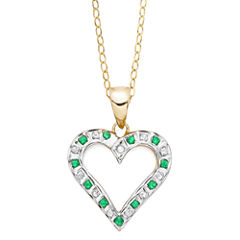 Genuine Emerald and Diamond-Accent Gold Over Sterling Heart Pendant