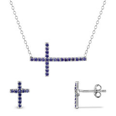 Simulated Amethyst Sterling Silver Necklace & Earrings 2 Piece Set
