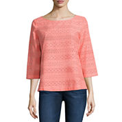 Liz Claiborne 3/4 Sleeve Boat Neck Woven Blouse-Talls