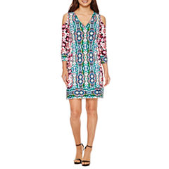Nicole By Nicole Miller 3/4 Sleeve Geometric Shift Dress