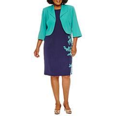 Maya Brooke 3/4 Sleeve Jacket Dress-Plus