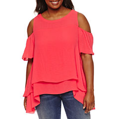 Boutique + Short Sleeve Cold Shoulder Woven Blouse-Plus