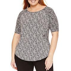 Worthington Elbow Sleeve Crew Neck T-Shirt-Womens Plus