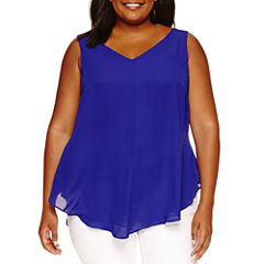 Worthington Woven Tank Top-Plus