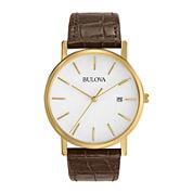 Bulova® Mens Classic Brown Leather Strap Watch 97B100