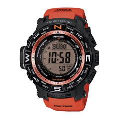 Casio® Pro Trek Triple Sensor Mens Orange Resin Solar Sport Watch PRW3500Y-4