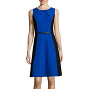 Alyx® Sleeveless Colorblock Pleat-Neck Fit-and-Flare Dress