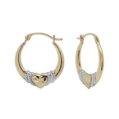 Two-Tone Heart Hoop Earrings 14K Gold