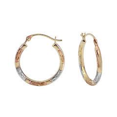 Tri-Tone Hoop Earrings 14K Gold
