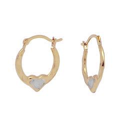 Girls 14K Gold Two-Tone Heart Endless Hoop Earrings