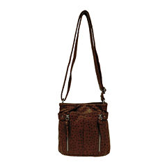 Bueno Washed Ostrich-Embossed Mini Crossbody Bag