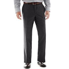 Savile Row® Charcoal Flat-Front Suit Pants - Slim