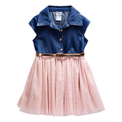 Young LandDenim Top PinkTutu Dress - Toddler Girls